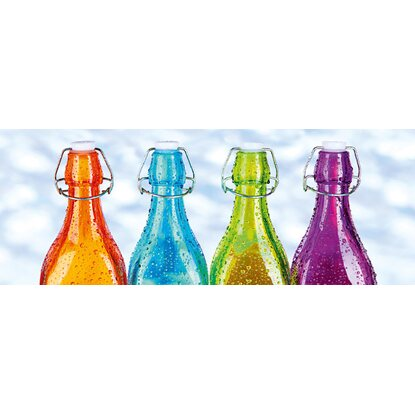Eurographics Glasbild Coloured Bottles 30 cm x 80 cm