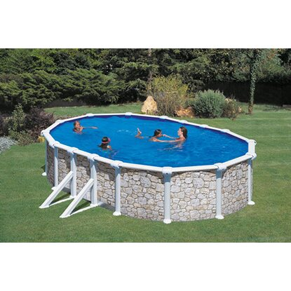 Summer Fun Stahlwand Pool-Set Stein Dekor VENEZIA oval 610 x 375 x 120cm