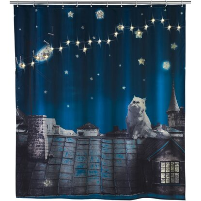 Wenko Duschvorhang Moon Cat LED 200 cm x 180 cm Polyester