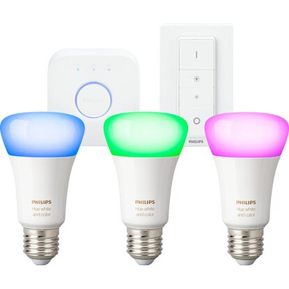 Philips Hue LED-Lampen Starter-Set White & Color Ambiance E27 inkl. Dimmschalter