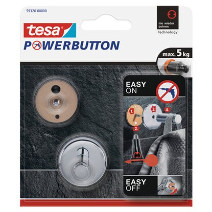 Tesa Powerbutton Haken Universal Chrom Small