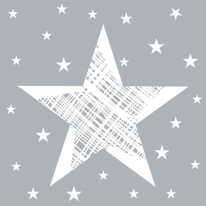 Duni-Servietten Shining Star Grey 24 x 24 cm Tissue 3-lagig 20er-Pack