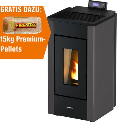 Freepoint Pelletofen Sharp Stahl Anthrazit 7 kW EEK: A+ inkl. 15 kg Pellets