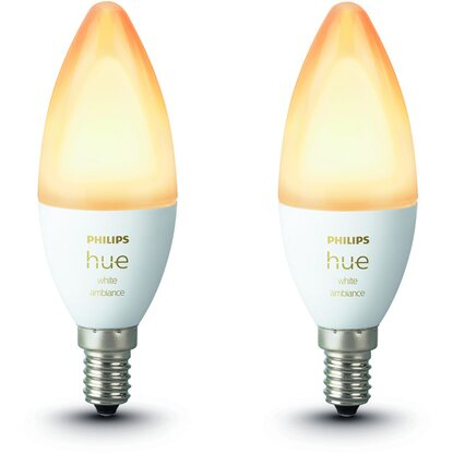 Philips Hue LED-Lampe White Ambiance E14/5,2 W, 470 lm 2er-Pack