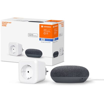 Ledvance Google Home Mini Starter-Set Speaker Schwarz + Steckdose