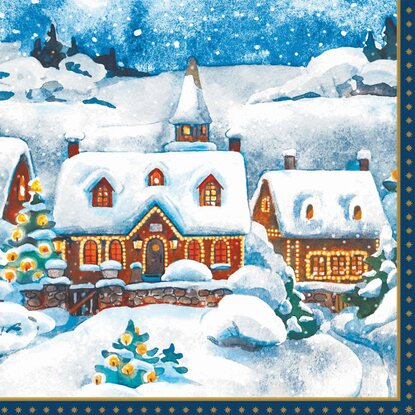 Duni Servietten Winter Village 33 x 33 cm Tissue 3-lagig 20er-Pack