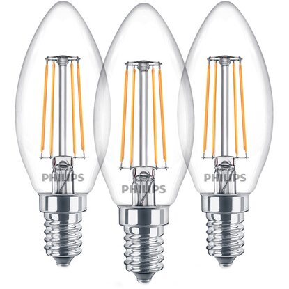 Philips LED-Lampe Filament 3er-Pack E14/4,3 W Ersatz für 40 W Warmweiß EEK: A++