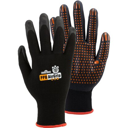 Workpower Arbeitshandschuh Airgrip Dot Schwarz-Orange Gr. 8