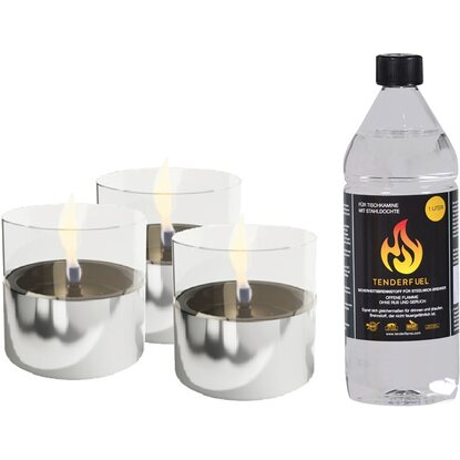 Tenderflame Tischfeuer Set Lilly in Aluminium