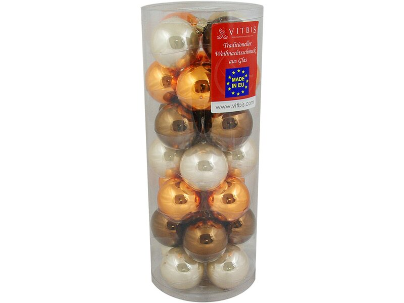 Vitbis glasweihnachtskugeln mix 6 cm 28 st ck capuccino kaufen bei obi - Obi weihnachtskugeln ...