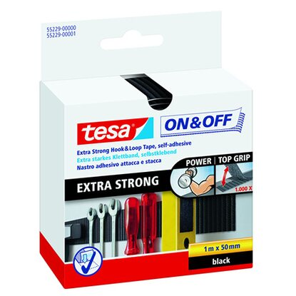 tesa On & Off extrastarkes Klettband 1 m x 50 mm Schwarz