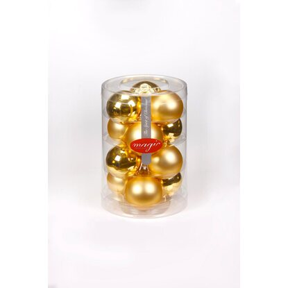 Magic Weihnachtsbaumkugel-Set Glas 12-tlg. 60 mm Gold glanz / matt