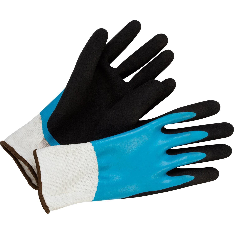 Gartenhandschuh Nitril-Vollbeschichtung Blau-Schwarz Größe 7