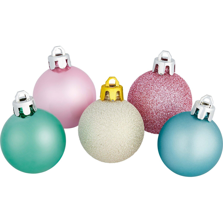 Christbaumkugeln Günstig Kaufen.Weihnachts Baumkugel Set 30 Teilig Hellgold Hellblau Türkis Koralle