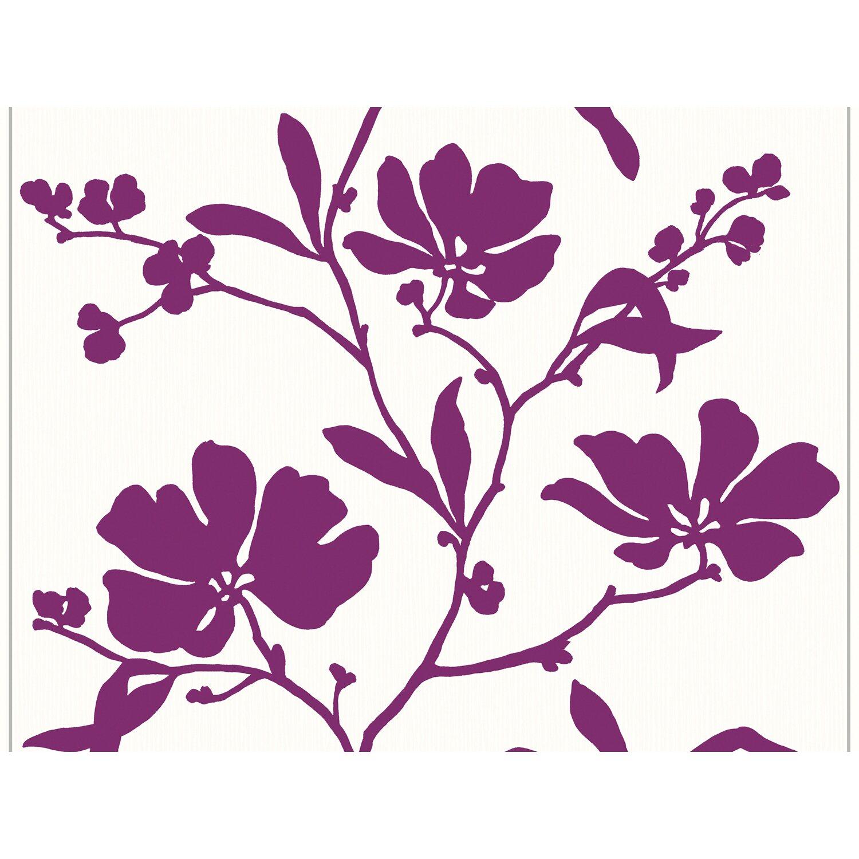 sch ner wohnen kollektion vliestapete blumenranke violett kaufen bei obi. Black Bedroom Furniture Sets. Home Design Ideas