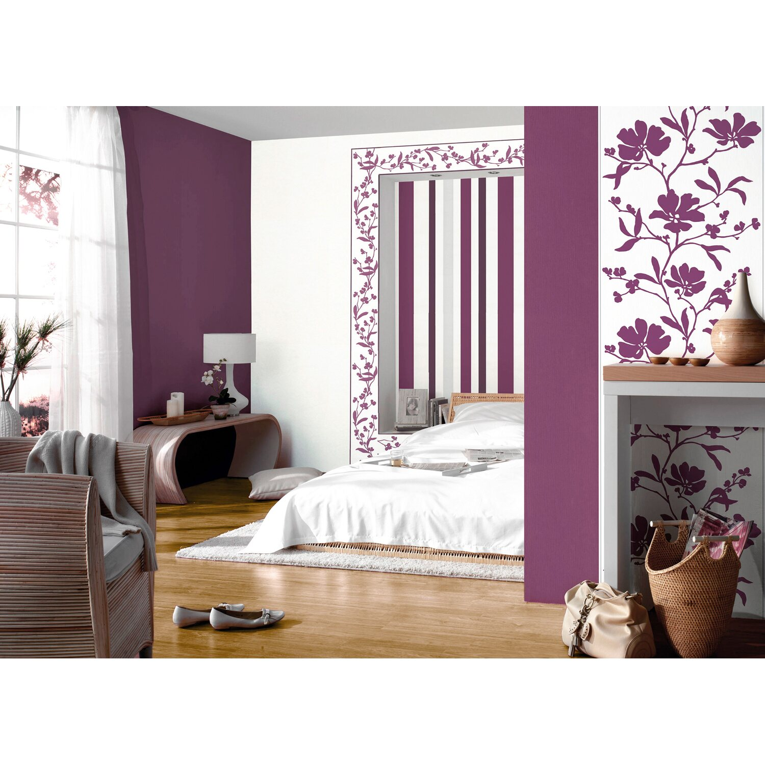 sch ner wohnen kollektion vliestapete blumenranke violett kaufen bei obi. Black Bedroom Furniture Sets. Home Design Ideas