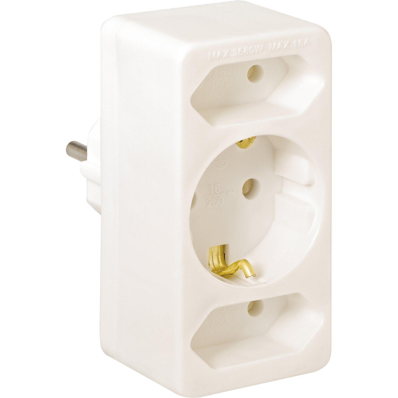 Mehrfachsteckdosen-Euro-Adapter Weiß