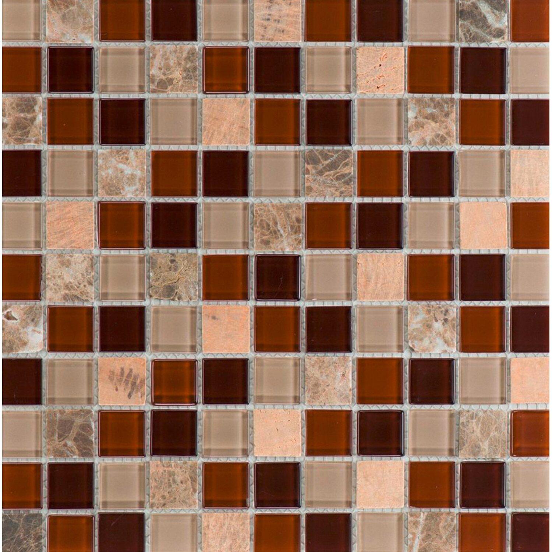 Sonstige Glas- und Natursteinmosaik Galicia Brown Beige 30 cm x 30 cm