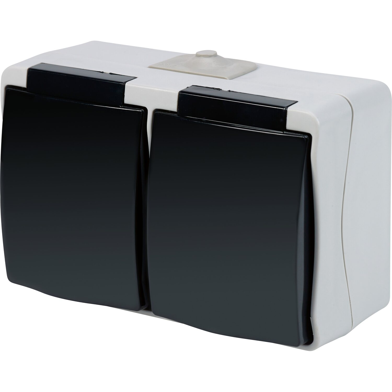 Wechselschalter Steckdose Feuchtraumsteckdose Aufputzsteckdose Feuchtraum IP54