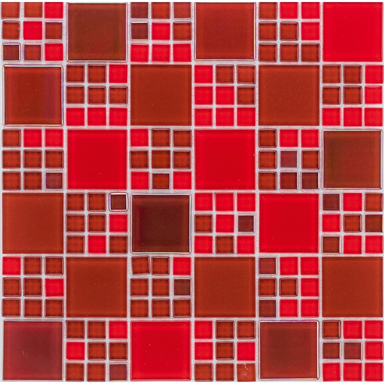 Sonstige Glasmosaikmatte Simpli Rainbow Rot 30 cm x 30 cm