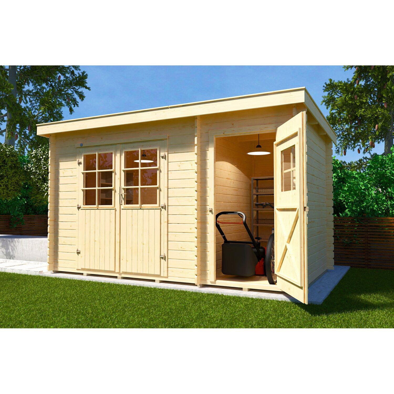 weka holz gartenhaus brixen mit flachdach natur b x t 370 cm x 200 cm kaufen bei obi. Black Bedroom Furniture Sets. Home Design Ideas