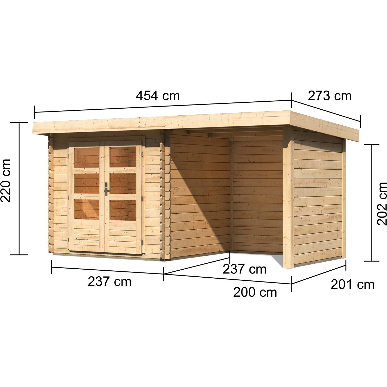 Karibu Holz Gartenhaus Angelholm 2 Natur Set Bxt 420x220 Davon 200 Cm Anbaudach Kaufen Bei Obi
