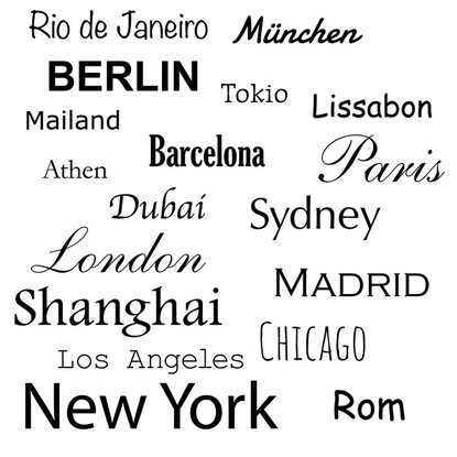 Eurographics Deco Sticker Cities of the World 50 cm x 70 cm