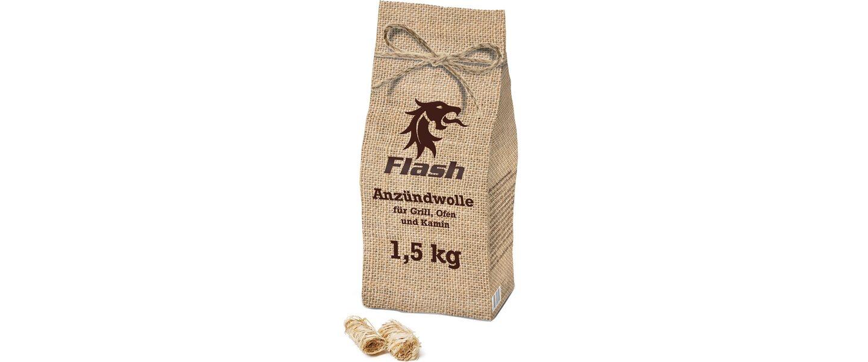 Flash Anzündwolle 1,5 kg Jute-Optik-Beutel