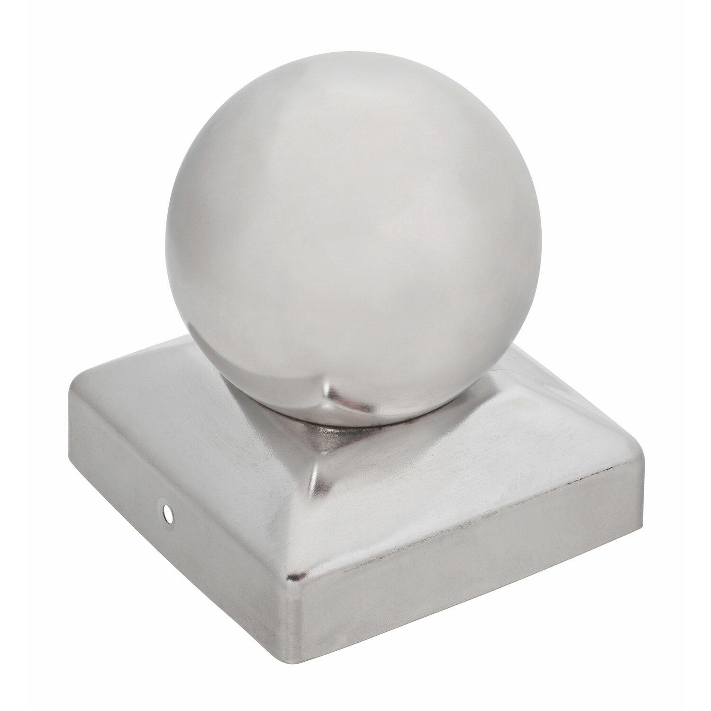 Pfostenkappe quadratisch mit kugel edelstahl 91 mm x 91 mm - Obi holzpfosten ...