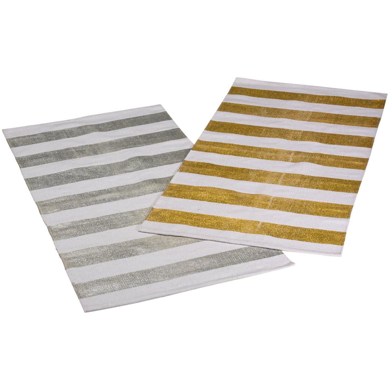 Miavilla Läufer Shiny Stripes 70 cm x 140 cm Goldfarben-Weiß kaufen ...