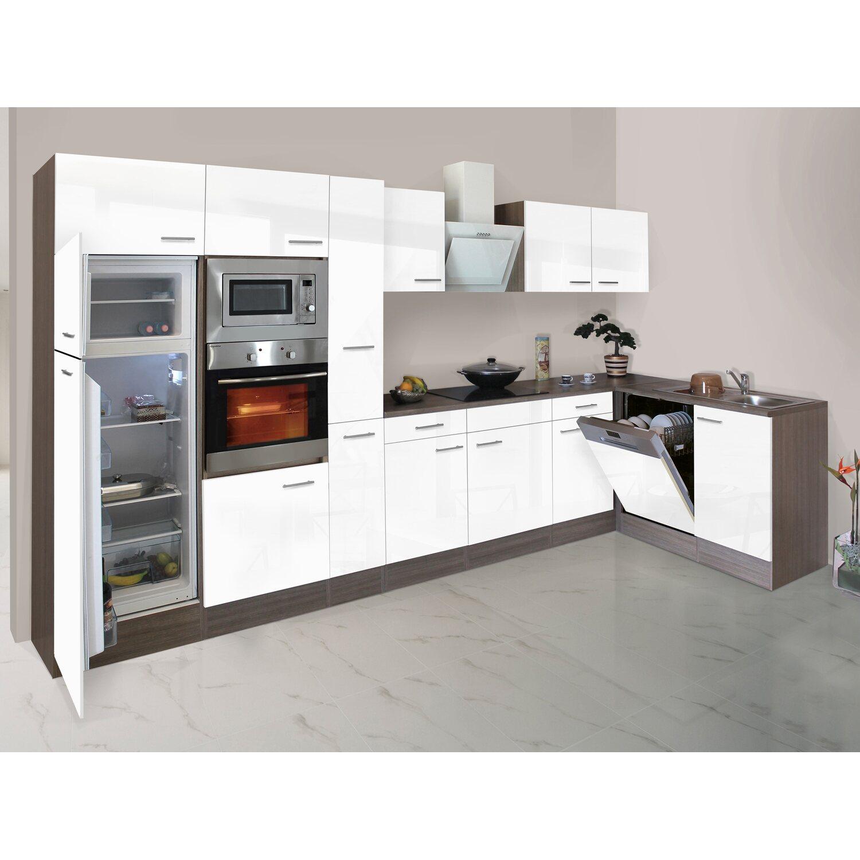 respekta winkelk che 370 cm wei seidenglanz eiche york. Black Bedroom Furniture Sets. Home Design Ideas