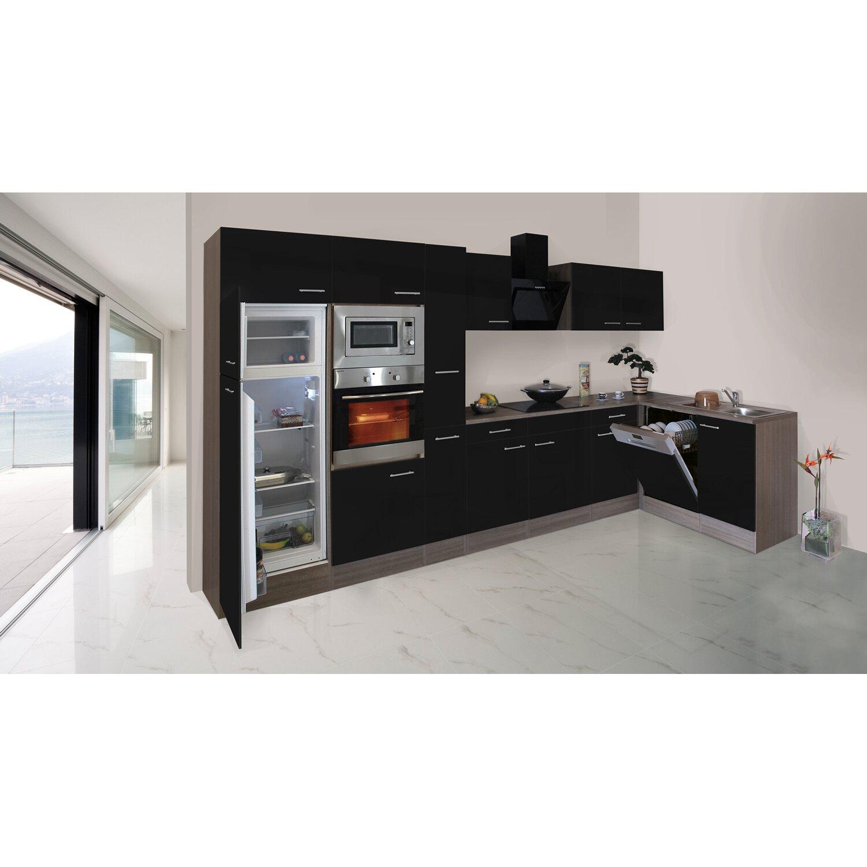 Respekta Küche Obi   Respekta Winkelkuche 370 Cm Schwarz Seidenglanz Eiche York