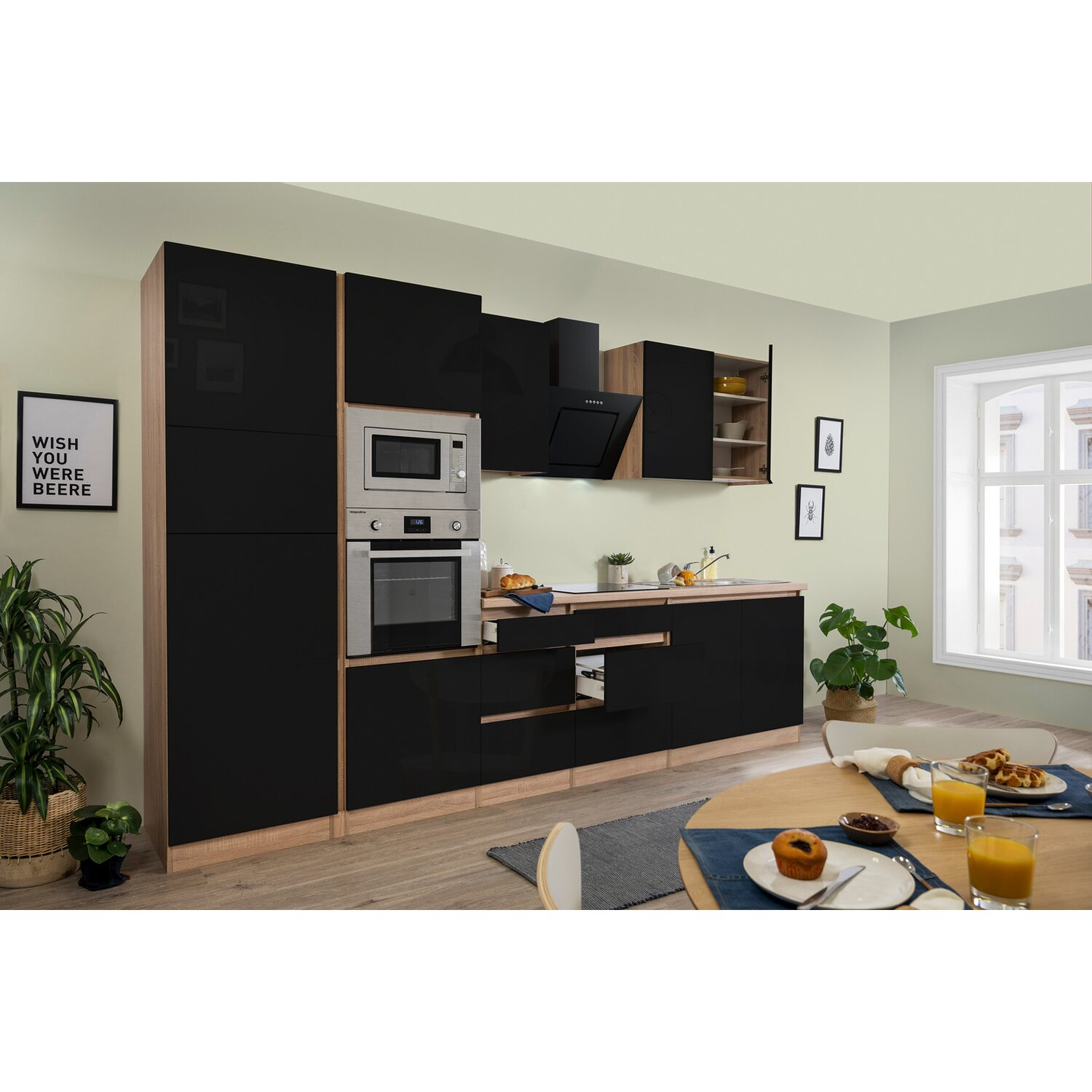 respekta premium k chenzeile grifflos 335 cm schwarz hochglanz eiche s gerau kaufen bei obi. Black Bedroom Furniture Sets. Home Design Ideas