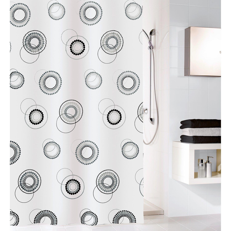 obi duschvorhang luna 180 cm x 200 cm schwarz wei kaufen. Black Bedroom Furniture Sets. Home Design Ideas
