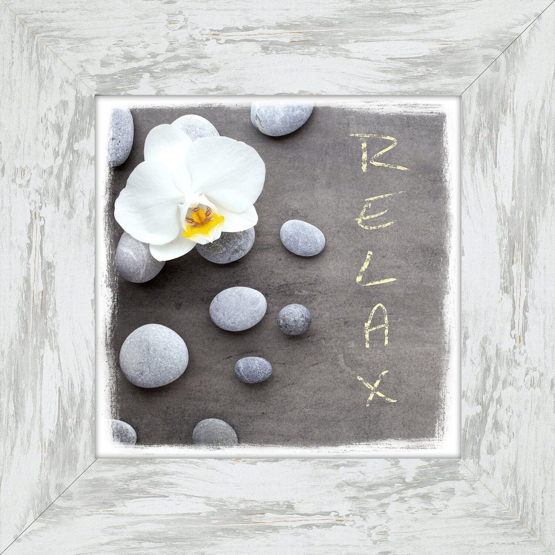 bild mit rahmen relax with stones and flowers 44 cm x 44 cm kaufen bei obi. Black Bedroom Furniture Sets. Home Design Ideas