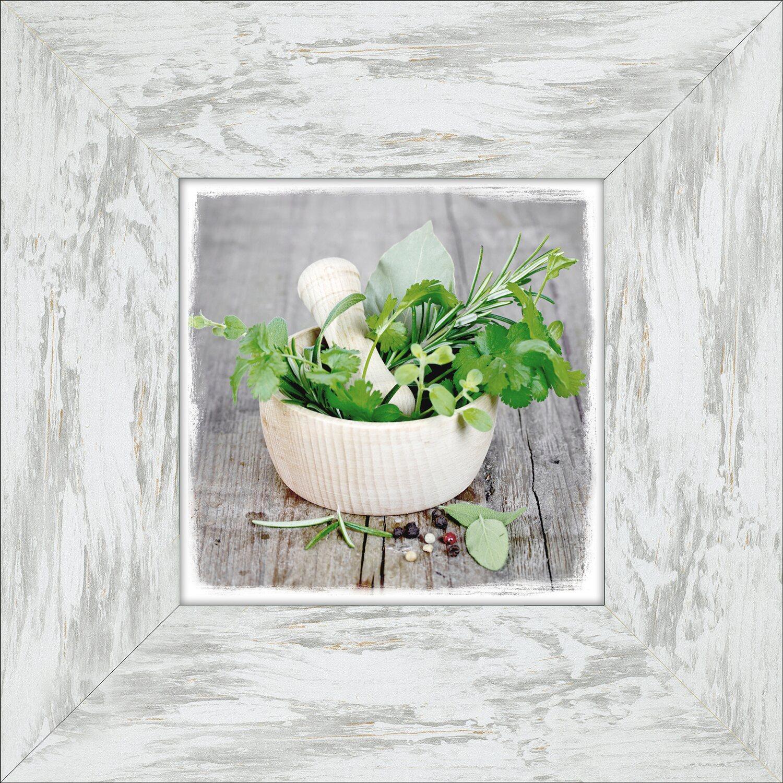 bild mit rahmen green basil in bowl wei 34 cm x 34 cm kaufen bei obi. Black Bedroom Furniture Sets. Home Design Ideas