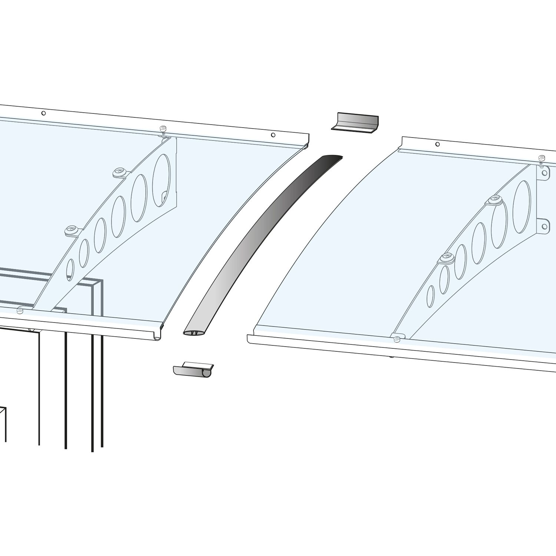 Verbindungsset f r vordach silber eloxiert 8 cm x 100 cm for Obi vordach