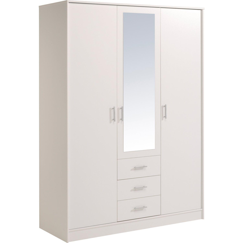 Kleiderschrank weiß mit spiegel  Parisot Kleiderschrank 3-türig mit Spiegel Infinity IV Weiß kaufen ...