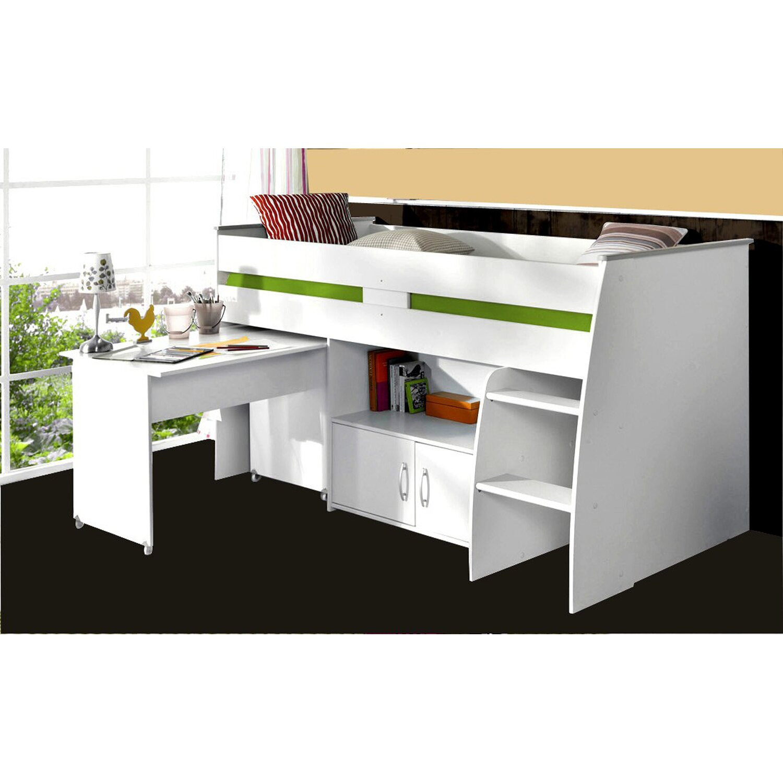 Parisot Multifunktionshochbett mit Schreibtisch Reverse Weiß