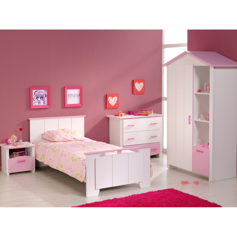 Parisot kinderzimmer set 4 teilig biotiful wei rosa for Kinderzimmer 4 teilig