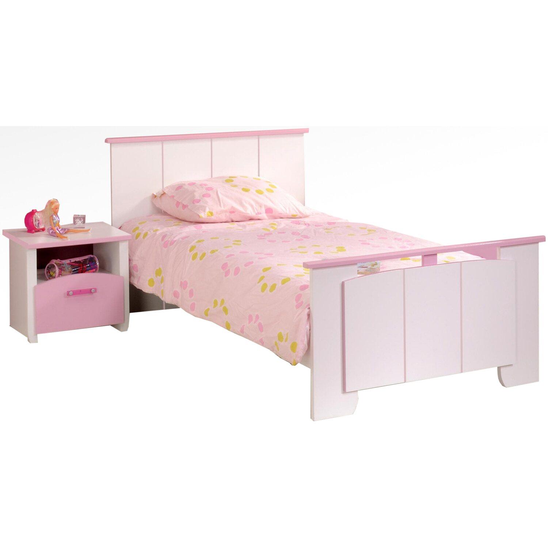 parisot kinderbett mit nachtkommode biotiful wei rosa kaufen bei obi. Black Bedroom Furniture Sets. Home Design Ideas