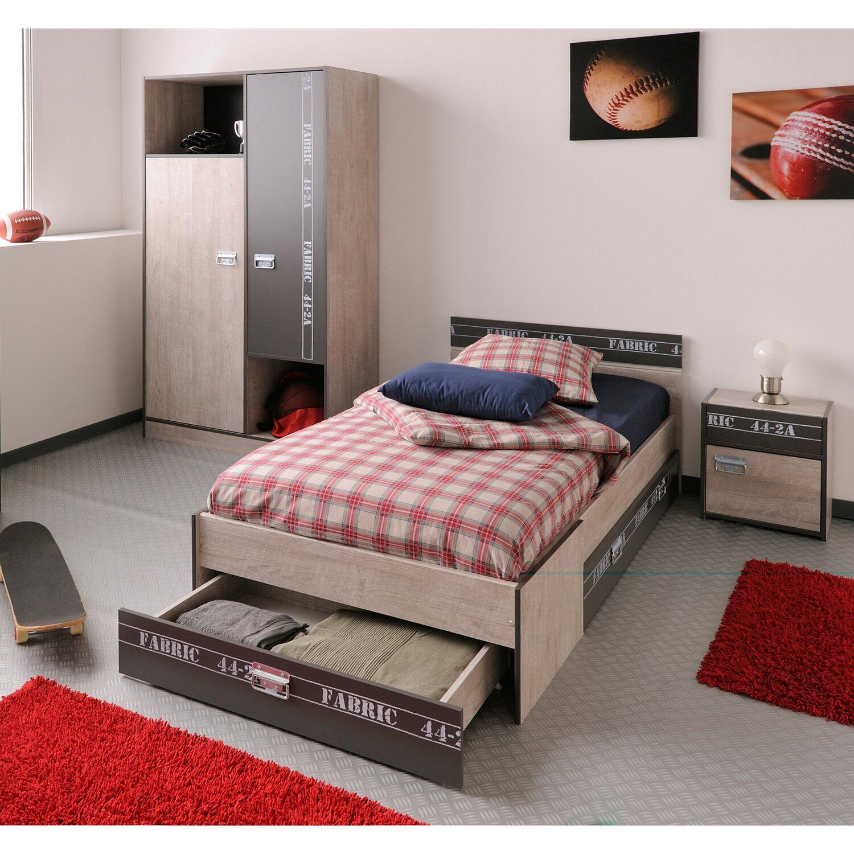 Parisot schlafzimmer set 3 teilig fabric esche grau kaufen for Jugendzimmer set komplett
