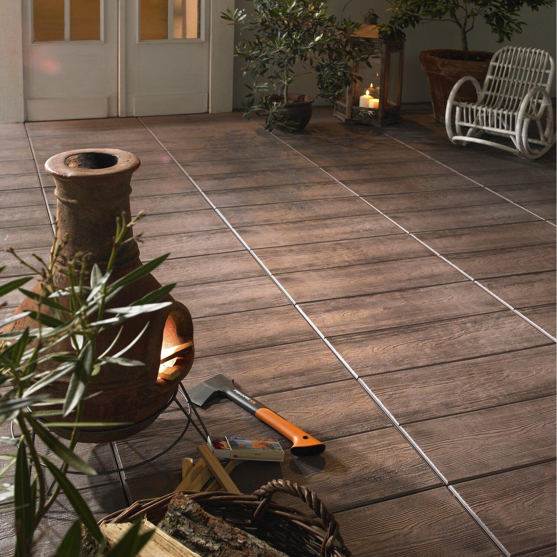 Terrassenplatte Beton Holzdiele Dunkelbraun Beschichtet 60 Cm X 40