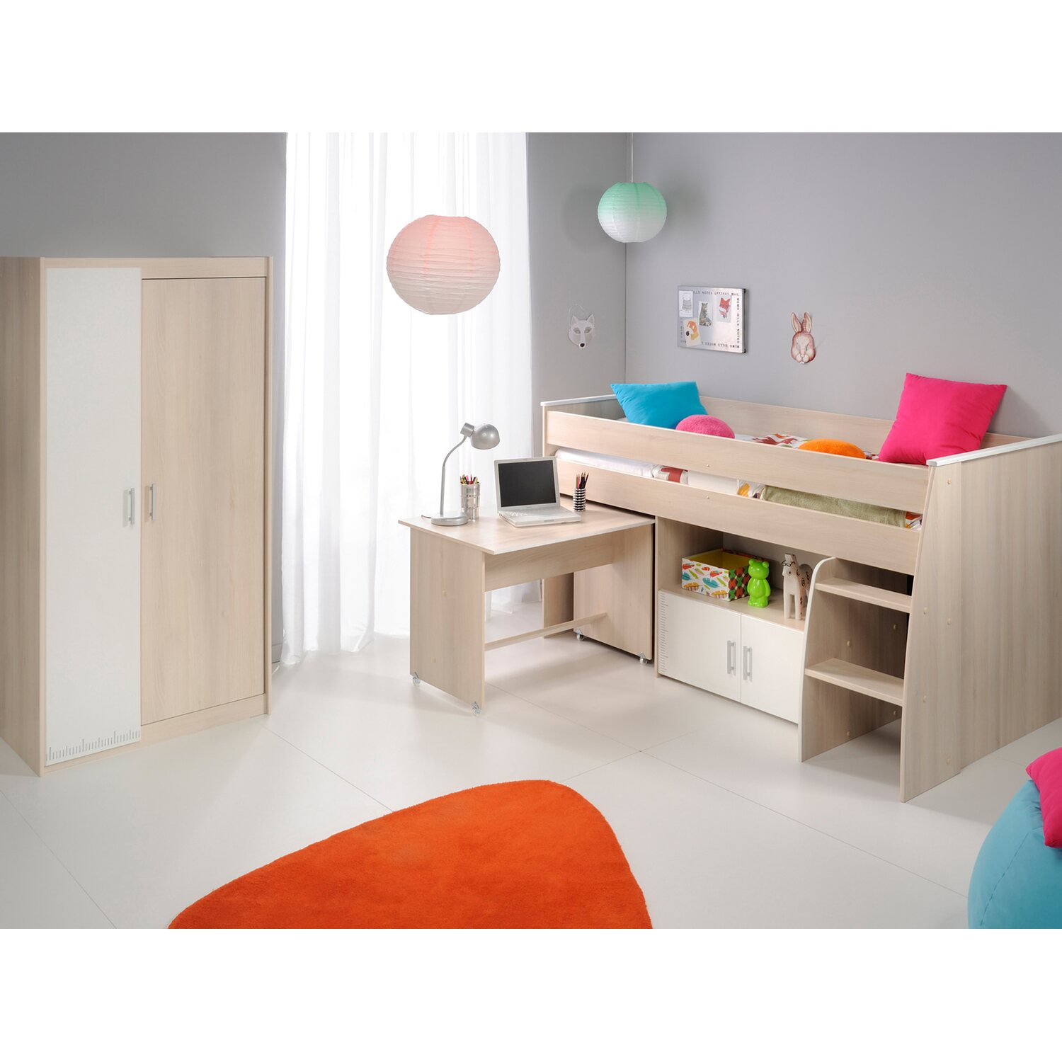 parisot kinderzimmer set 2 teilig charly v akazie wei kaufen bei obi. Black Bedroom Furniture Sets. Home Design Ideas
