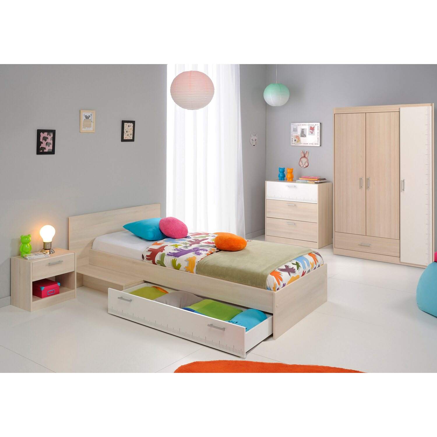parisot kinderzimmer set 5 teilig charly iii akazie wei kaufen bei obi. Black Bedroom Furniture Sets. Home Design Ideas
