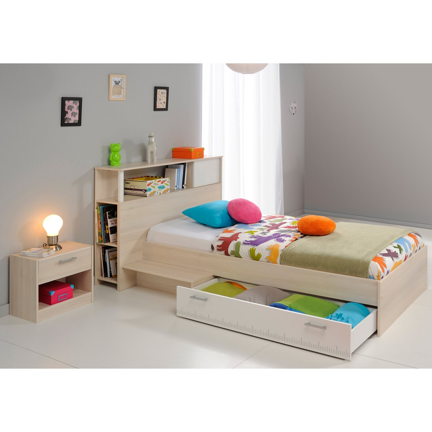 parisot kinderbett mit nachttisch 3 teilig charly akazie wei kaufen bei obi. Black Bedroom Furniture Sets. Home Design Ideas