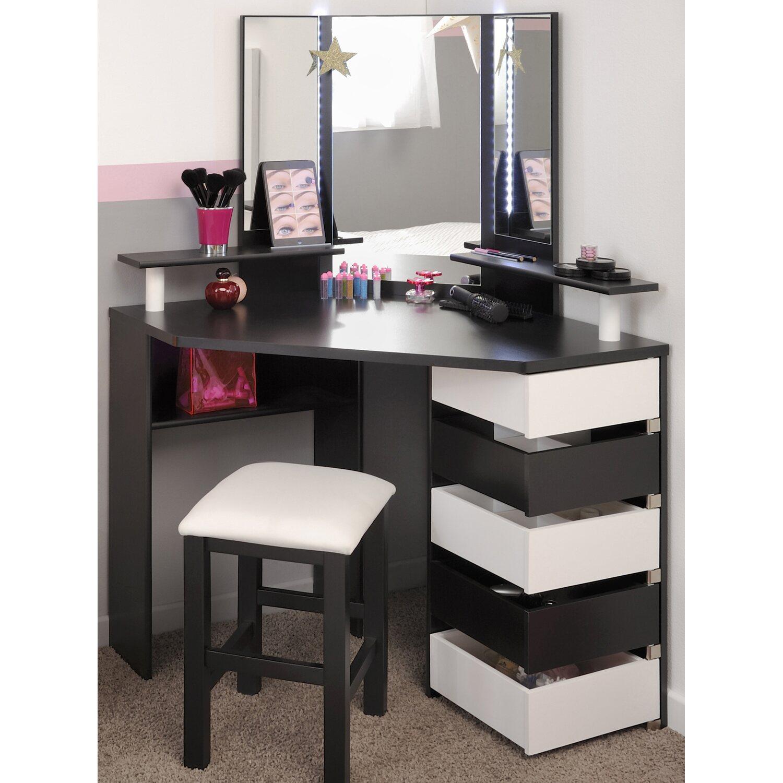 parisot eck schminktisch mit hocker volage schwarz wei. Black Bedroom Furniture Sets. Home Design Ideas