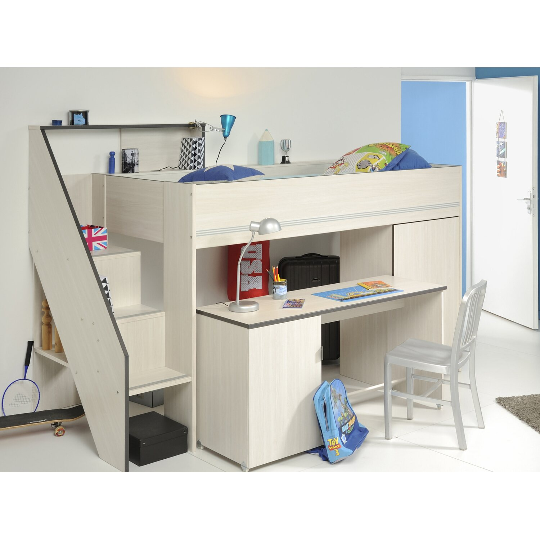 parisot multifunktionshochbett mit schreibtisch gravity. Black Bedroom Furniture Sets. Home Design Ideas