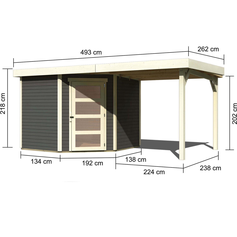 Karibu Holz Gartenhaus Linkobing 5 Terragrau Bxt 462x242 Davon 224 Cm Anbaudach Kaufen Bei Obi
