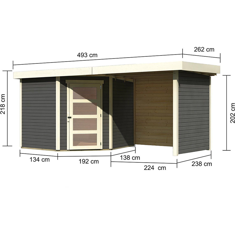 Karibu Holz Gartenhaus Linkobing 5 Terragrau Bxt 462x242 Davon 224
